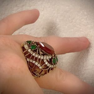 RUBY EMERALD RING Size 11 Solid 925 Silver/Gold